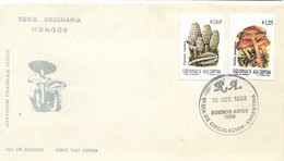 ARGENTINA 1992 SERIE HONGOS MUSHROOMS 2 VALUES ON FIRST DAY COVER FDC SPD - FDC