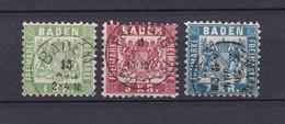 Baden - 1868 - Michel Nr. 23/25 - Gest. - 65 Euro - Baden