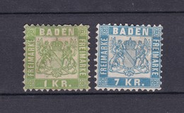 Baden - 1868 - Michel Nr. 23+25 - Ungebr. - Baden
