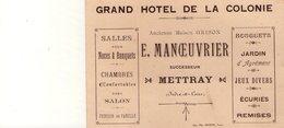 Carte Publicitaire - Mettray (Indre Et Loire) - Grand Hôtel De La Colonie - Ancienne Maison Grison - Manoeuvrier - Werbung