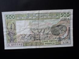 CÔTE D'IVOIRE : 500 FRANCS   1988   P 106Aa    Presque TTB+ * - Côte D'Ivoire