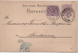 ALLEMAGNE  CARTE AVEC ENTIER DE 1888  DEPART DE COLN - Allemagne