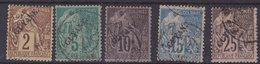 GUYANE : N° 17 ET N° 19/21 . 5 EX OBL . B A TB . 1892 . ( CATALOGUE YVERT ) . - Französisch-Guayana (1886-1949)