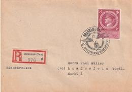 """Deutsches Reich / 1944 / Mi. 887 EF Auf Reco-Brief, SSt. Braunau """"Deutschland Wird Siegen"""" (5151) - Deutschland"""