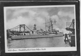 AK 0408  Wilhelmshafen - Kriegsschiff Passiert Kaiser-Wilhelm-Brücke Ca. Um 1915 - Krieg