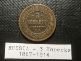 RUSSIE/Russia - 3 Kopecks 1876 - ALEXANDER II - RARE - Russia