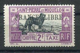 RC 15344 SAINT PIERRE ET MIQUELON SPM TAXE N° 55 SURCHARGE FRANCE LIBRE COTE 70€ NEUF * MH TB - St.Pierre & Miquelon
