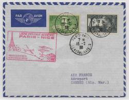 1938 - 1° VOL / FIRST FLIGHT - ENVELOPPE POSTE AERIENNE PARIS à NICE - Premiers Vols
