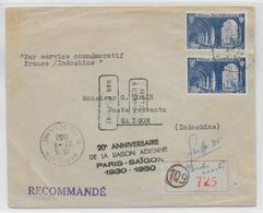 "1950 - 1° VOL / FIRST FLIGHT - ENVELOPPE POSTE AERIENNE RECOMMANDEE FRANCE INDOCHINE ""20° ANNIVERSAIRE"" - 1927-1959 Lettres & Documents"