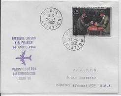 1962 - 1° VOL / FIRST FLIGHT - ENVELOPPE POSTE AERIENNE PARIS HOUSTON (USA) - Premiers Vols