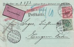 Deutsches Reich / 1898 / Nachnahme-Postkarte Ex Emmendingen Nach Engen < Rs. Rechnung > (5159) - Deutschland