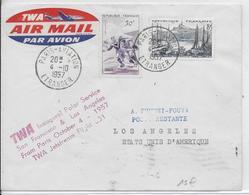 1957 - 1° VOL / FIRST FLIGHT - ENVELOPPE POSTE AERIENNE TWA PARIS SAN FRANCISCO / LOS ANGELES (USA) - Premiers Vols