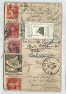 CARTE TOUR DU MONDE ESPERANTO FRANCE USA BRASIL BULGARIE RETOUR FRANCE - Marcophilie (Lettres)