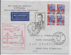 1960 - 1° VOL / FIRST FLIGHT - ENVELOPPE POSTE AERIENNE LUFTHANSA PARIS MONTREAL SAN FRANCISCO (USA) - Premiers Vols
