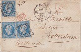 FRANCE : N° 14 . 3 EX . AFFRT A 60 Cts . POUR LA HOLLANDE . 1862 - Marcophilie (Lettres)