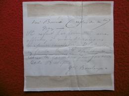 AUTOGRAPHE GENERAL BOULANGER GARNISONS PEU FAVORITES DE LA BRETAGNE - Autografi