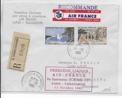 1961 - 1° VOL / FIRST FLIGHT - ENVELOPPE RECO POSTE AERIENNE AIR FRANCE PARIS à TANANARIVE (MADAGASCAR) - Premiers Vols