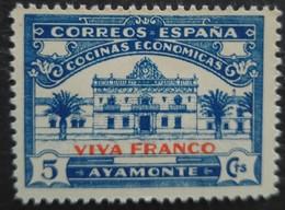 Cocinas Economicas AYAMONTE    5cts Bleu Surchargé Viva Franco Neuf - Vignettes De La Guerre Civile