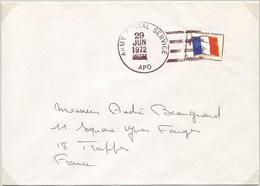 FM DRAPEAU LETTRE CACHET AMERICAIN ARMY POSTAL SERVICE APO 0977 28 JUN 1972 - Franchigia Militare (francobolli)