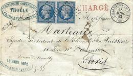 1862 Lettre Chargée Avec 2 Timbres Empire N°14 Charenton Paris - 1853-1860 Napoléon III