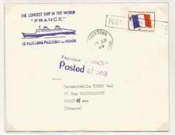 FM DRAPEAU LETTRE GRIFFE  POSTED AT SEA FREETOWN 1969 + PAQUEBOT FRANCE - Franchise Stamps