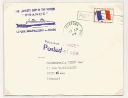 FM DRAPEAU LETTRE GRIFFE  POSTED AT SEA FREETOWN 1969 + PAQUEBOT FRANCE - Militärpostmarken