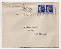 - Lettre LIMOGES (Haute-Vienne) Pour MURAT (Cantal) 10.7.1941 - Paire 50 C. Sur 90 C. Outremer Type Paix - - Lettres & Documents