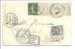 """FRANCE Bande De Journal 1920 Taxé Suisse Et Francais Avec Bande De 3 Du 1ctm """"Blanc"""" - Frankreich"""