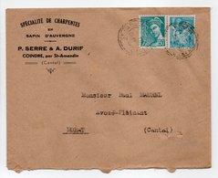 - Lettre CHARPENTES EN SAPIN D'AUVERGNE SERRE & DURIF, COINDRE Pour MURAT (Cantal) 20.1.1945 - - Brieven En Documenten