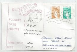 SABINE 1FR80+20C LETTRE TOULON 11.1.1982  SOUS MARINS ARCHIMEDE GRIFFON - Marcophilie (Lettres)