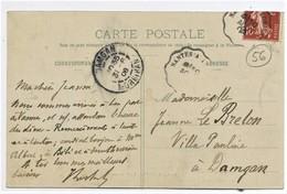 """Cachet Convoyeur """"Nantes A Lorient 1908"""" Semeuse Indice=3 Frappe Superbe  2 Scans - Railway Post"""