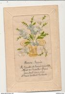 BONNE ANNEE CARTE BRODEE VASE DE FLEURS - Bestickt