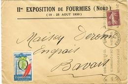 II EXPOSITION DE FOURMIES 1930 KRAG SUR GDE ENVELOPPE A EN TETE ET VIGNETTE CORRESPONDANT - Annullamenti Meccanici (pubblicitari)