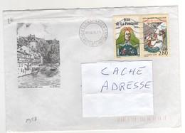 """: Beau Timbre , Stamp  Yvert N° 2958 """" Les Fables De La Fontaine """" + Vignette , Sur Lettre , Cover , Mail Du 07/08/1995 - France"""