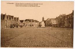 Diksmuide, Dixmude, Groote Plaats En Standbeeld Van Generaal Jacques (pk67051) - Diksmuide