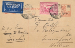 Nederlands Indië - 1929 - 5 Op 12,5 Cent, Briefkaart G40 + 40 Cent LP Met 5e Terugvlucht Van Soerabaja Naar Amersfoort - Netherlands Indies