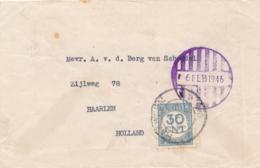 Nederlands Indië - 1946 - Noodstempel Batavia Op Briefje Naar Haarlem - Aldaar Beport Met 30 Cent - Netherlands Indies