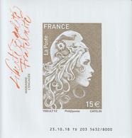 France 2018 F5258B Feuillet Marianne Engagée 15 Euro Non Dentelé ** MNH Tirage 8000 - 2018-... Marianne L'Engagée