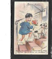 Théme-Illustrateur-Germaine BOURET-Bonne Année Enfant Chien Leurs - Bouret, Germaine