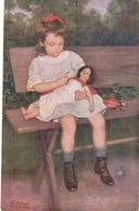 """""""F. Klimes. Girl With Doll. La Petite Mamam"""" Fine Painting, Vintage German Postcard - Niños"""