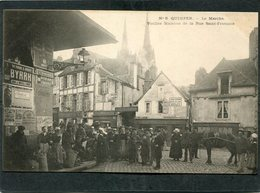 CPA - Karten Bost - QUIMPER - Le Marché - Rue St François, Très Animé  (dos Non Divisé) - Quimper