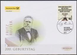 BRD FDC 2010 Nr. 2832 200.Geb. Fritz Reuter ( D 74)günstige Versandkosten - FDC: Briefe