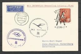 Aérophilatélie - DDR - Lettre 1960 - Leipzig Luftpost Interflug Messuflug Leipzig-Wien - J-E Liotard - [6] Oost-Duitsland