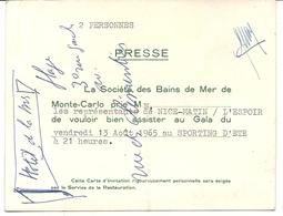 MONACO . INVITATION PRESSE AU S.B.M 1965 - Tickets - Entradas