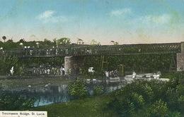 St Lucia Troumassie Bridge  Sent To Mélédo Sage Femme Langonnet Morbihan Hand Colored - Sainte-Lucie