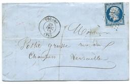N° 14 BLEU NAPOLEON SUR LETTRE / FECAMP POUR VERSAILLES / 29 DEC 1855 - Storia Postale