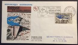 AFA1 Algérie Barrage Foum El Gherza Flamme Révolution Algérienne FDC Premier Jour Alger 1/11/1962 Lettre - Algeria (1962-...)