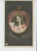 FEMMES - FRAU - LADY - Jolie Carte Fantaisie Portrait Femme Ange Dans Coeur - Women