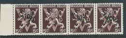 België 724o In Strook Van 4 Met Ontbrekende Opdruk - Variétés (Catalogue COB)