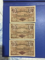 GERMANY 3 BANKNOTES 20 MARK 1914 CONTINUOUS NUMBERS - [ 2] 1871-1918 : Duitse Rijk
